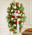 Red and White Sympathy Standing Spray (Small)