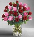 Ultimate Elegance Long Stem Pink & Red Roses (24 Stems)