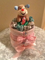 New Born Baby Diaper cake: to include Diapers, Receiving blanket, Stuffed animal,