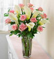 Pink Rose and White Cala Lily Bouquet
