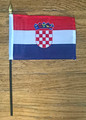 Croatian Flag for Parties, Rallies, Parades, and Games 4 in x 6 in on a 10.5 inch rod: SUPER SALE!