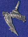 Map of Croatia, Sterling Silver, 1.47g:  RE-STOCKED! DISCOUNTED!