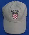 "Ball Cap, Khaki - ""Croatia""  Embroidery Outlined in Black, with GRB: SOLD OUT!"