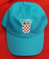 "Ball Cap, Deep Turquoise Blue - ""Croatia""  Embroidered Outline in White, with GRB: NEW! SOLD OUT!"