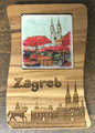 *****Magnet, Made from Croatian OLIVE WOOD with Carved Zagreb Scene: NEW!