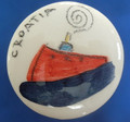 "Wine Bottle Cork with Ceramic Top, Created by Mario Barisin, ""Dalmatian Boat"" (Red, Green, Yellow)  CLEARANCE!"