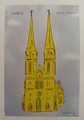"""Zagreb Cathedral"" Print by Mario Barisin (lilac background)"