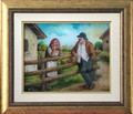 "*CROATIAN VILLAGE LIFE: ""Neighborly Chat"" Reverse Glass Painting by Miroslav Pintar, ORIGINAL ART: NEW! 2019"