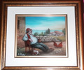 "*ADRIATIC VILLAGE LIFE: ""Adriatic Respite"" Reverse Glass Painting by Miroslav Pintar, ORIGINAL ART: NEW! SOLD!"