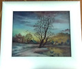 "*CROATIAN VILLAGE LIFE: ""Winter Sunrise in My Croatian Village"" Reverse Glass Painting by Miroslav Pintar, ORIGINAL ART: NEW!"
