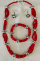 Coral Croatian Heritage Necklace, Bracelet and Earrings from the Island of MLJET, Handmade and ONE-OF-A-KIND, Imported from Croatia! New 10-21!