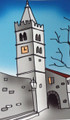 "**""HUM CLOCK TOWER, ISTRA"" Print by Dunja Niemčić, Imported from Croatia: ONE-OF-A-KIND! 8.25 inches by 11.75 inches: NEW!"