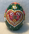 """Large Ceramic Free-Standing (3.5 in) Easter Eggs, Hand-Painted in and Imported from Croatia: NEW for 2021 with """"SRETAN USKRS!"""" (Green)"""