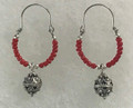 Earrings with Coral Beads and Botuni, Imported from Croatia: (Hoops)  SOLD OUT!