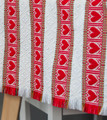 **(1CB) Table Runner, Woven Red Hearts & White Geometric Folk Pattern: Imported from Croatia! NEW! 14 in x 55 in (35 cm x 140 cm) DISCOUNTED PRICE! SOLD OUT!!