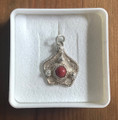 FILIGREE Pentagon Pendant with Adriatic Coral Center, Imported from Croatia: NEW!