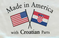 """T-Shirt with Ruffled Bottom, """"Made in America with Croatian Parts"""" Toddler Sizes: NEW!"""