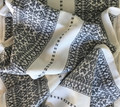 Woven Traditional-Patterned Textile Infinity Scarf, Imported from Croatia: NEW! (Soft Grey on White) PRICE DROP!  RE-STOCKED!