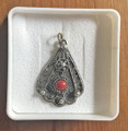 *FILIGREE Pendant with Adriatic Coral, ONE-OF-A-KIND, Imported from Croatia: NEW! (Fan Shape) NEW!
