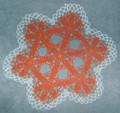 Handmade Crocheted Lace from Croatia by Durda Janes, ONE-OF-A-KIND: NEW! (orange-white) CLEARANCE!