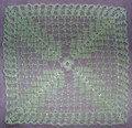 Handmade Crocheted Lace from Croatia by Durda Janes, ONE-OF-A-KIND: NEW! (green-square) CLEARANCE!