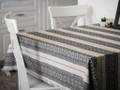 **(3S) Tabletopper, Woven Grey on Linen Folk Pattern: Imported from Croatia! NEW! 27.5 in x 27.5 in (70 cm x 70 cm) DISCOUNTED PRICE! RE-STOCKED!