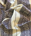 Woven Traditional-Patterned Textile Infinity Scarf, Imported from Croatia: NEW! (Lavender on White Linen) PRICE DROP! RE-STOCKED!