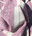 Woven Traditional-Patterned Textile Infinity Scarf, Imported from Croatia: NEW! (Mauve-Rose on White) PRICE DROP!  NEW COLOR!!