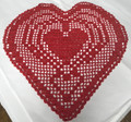 ****Crocheted Lace from Croatia, Hearts Design (deep red)