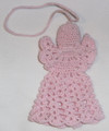 ANGEL ORNAMENT, Pink: Handmade Crocheted Lace from Croatia by Durda Janes, NEW! Larger Size!