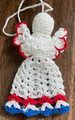 TROBOJNICA ANGEL ORNAMENT, Croatian Colors: Handmade Crocheted Lace from Croatia by Durda Janes, NEW for 2021! (RED-WHITE-BLUE #2) Larger Size and Filled Body That Will Stand on Its Own! NEW!