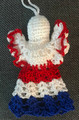 *ANGEL ORNAMENT, Croatian Colors: Handmade Crocheted Lace from Croatia by Durda Janes, NEW for 2020! (RED-WHITE-BLUE) Larger Size and Filled Body That Will Stand on Its Own! ONLY 3 AVAILABLE!