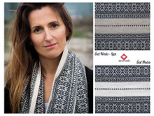 This scarf is woven onto an oatmeal-color LINEN, as pictured on the top right-hand-side.
