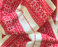 Woven Traditional-Patterned Textile Infinity Scarf, Imported from Croatia: NEW! (Croatian Red on White) PRICE DROP! RE-STOCKED!