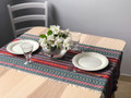 **(6S) Table Runner, PRIGORJE Folk Pattern, Blacks/Reds/Dark Teal: Imported from Croatia! NEW! 14 in x 55 in (35 cm x 140 cm) DISCOUNTED PRICE! RE-STOCKED!