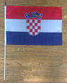 Croatian Flag for Parties, Rallies, Parades, and Games, Large Size 12 in x 18 in on a 24 in rod! SUPER SALE!