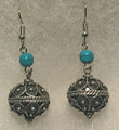 Earrings with Turquoise Beads and Botuni, Imported from Croatia: NEW! (Large): STEEPLY DISCOUNTED PRICE!