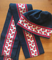 Scarf and Hat SET from Slavonija, Croatia! (Vine Motif): NEW! (Hat Size S-M)  BLUE  SOLD OUT!