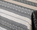 **(3S) Table Runner, Woven Grey on Linen Folk Pattern: Imported from Croatia! NEW! 14 in x 55 in (35 cm x 140 cm) DISCOUNTED PRICE! RE-STOCKED!