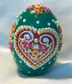 """Ceramic Free-Standing Easter Eggs, Hand-Painted in and Imported from Croatia: NEW for 2021 with """"SRETAN USKRS!"""" (Green)"""