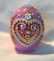 """Ceramic Free-Standing Easter Eggs, Hand-Painted in and Imported from Croatia: NEW for 2021 with """"SRETAN USKRS!"""" (Light Pink)"""