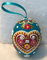 """*Wooden Hanging Easter Eggs, Hand-Painted in and Imported from Croatia: NEW for 2021 with """"SRETAN USKRS!"""" (Teal)"""