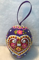 """*Wooden Hanging Easter Eggs, Hand-Painted in and Imported from Croatia: NEW for 2021 with """"SRETAN USKRS!"""" (Purple)"""