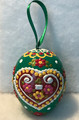 """*Wooden Hanging Easter Eggs, Hand-Painted in and Imported from Croatia: NEW for 2021 with """"SRETAN USKRS!"""" (Green)"""
