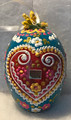 """*Large Wooden Hanging Easter Eggs (3.5 in), Hand-Painted in and Imported from Croatia: NEW for 2021 with """"SRETAN USKRS!"""" (Teal1) ONE AVAILABLE!"""