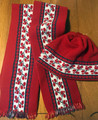 Scarf and Hat SET from Slavonija, Croatia! (Vine Motif): NEW! (Hat Size S-M)  RED:  SOLD OUT!