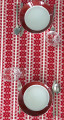 **(4C) Table Runner, Woven Hearts Folk Pattern: Imported from Croatia! NEW! 14 in x 55 in (35 cm x 140 cm) DISCOUNTED PRICE! RE-STOCKED!