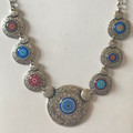*Glass Dome Necklace in the MURANO 'MILLEFIORI' Style, Imported from Croatia, ONE-OF-A-KIND! (4) STEEPLY DISCOUNTED PRICE!