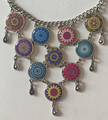 *Glass Dome Necklace in the MURANO 'MILLEFIORI' Style, Imported from Croatia, ONE-OF-A-KIND! (7) STEEPLY DISCOUNTED PRICE!