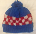 *Hrvatska Designs by Gloria ** ~ Hand Knit Blue Stocking Cap with ŠAHOVNICA Design: NEW! (6-18 months)